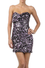 Dress Metallic Purple Ruffle Strapless Tube Bodycon Club Stretch Ruffle New Sexy