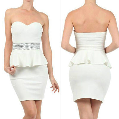 Dress Peplum Cocktail White Sexy Rhinestone Strapless S M L Sweetheart Stretch