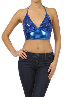New Womens Crop Top Sequin Shiny Metallic Lame Sparkling Sexy Club S M L