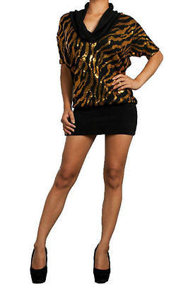 S M L Cowl Mini Sequin Dress Gold Black Animal Print Sparkling Knit Club Party