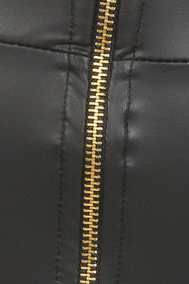 Black Skirt Faux Leather Pencil High Waist Zipper Sexy Plus Size S M L New