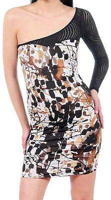 Dress S M L One Shoulder Paint Splatter Netted Mesh Sleeve Sexy Club Mini New