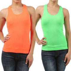 Sexy Seamless Tank Neon One Size Orange Lime Racerback Top New Stretch