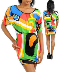 Dress S M L Mini Colorful Geometric Abstract Dolman Sleeve Backside Keyhole New