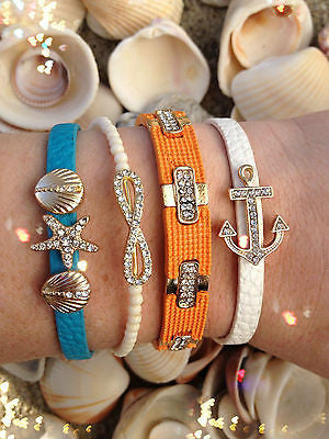 Bracelet Arm Candy Stack Shore Nautical Shell Rhinestone Infinity Anchor Set New