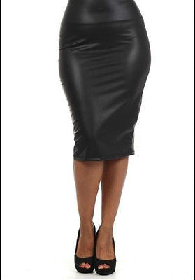 Skirt Faux Leather Black Matte Pencil Bodycon Stretch 1X 2X 3X New Size Bodycon