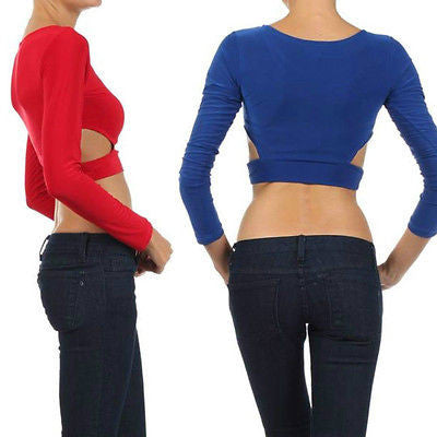 S M L Top Midriff Crop Cut Outs Exposed Solid Blue Red Long Sleeve New Sexy Hot