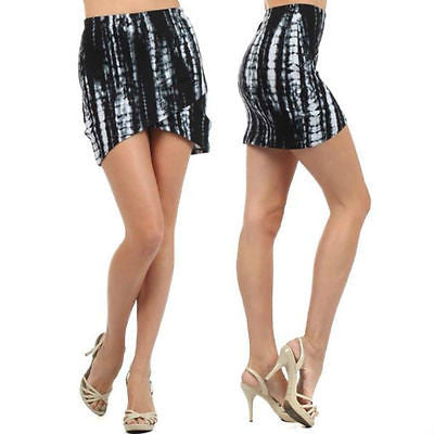 S M L Skirt Tie Dye Print High Waist Mini Hi Low Hem Stretch Black White New
