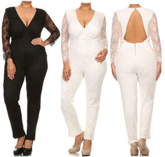 Plus Jumpsuit Lace Long Sleeve 1X 2X 3X Cut Out Open Back Solid Black Ivory Sexy
