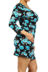 Dress Plus Floral Casual Spring 3/4 Sleeve 1X 2X 3X Knit Bodycon Mini New Sexy