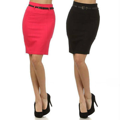 S M L Pencil Skirt High Waist Stretch Belt Backside Slit Diagonal Seam Womens