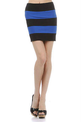 Skirt Blue Black Striped Mini S M L Bandage Exposed Zipper Stretch Column New