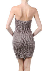 Dress Faux Leather Strapless Taupe Gold Shimmer Texture Sweetheart Stretch Mini