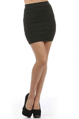 Skirt M Sexy Club Casual Black Bandage Seamed Knit Stretch High Waist Mini New