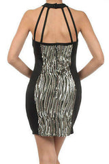 Dress S M L Cocktail Sequin Gold Sparkling Textured Panel Halter New Sexy Mini