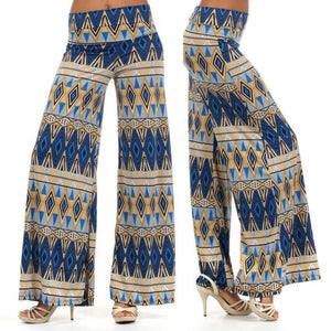 Tribal Aztec Wide Leg Palazzo Casual Pants Tan High Waist Foldover S