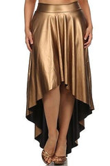 Sexy Plus Size Skirt Faux Leather High Waist New Hi Lo Midi Maxi Stretch Long