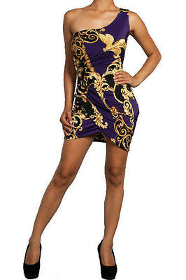 Sexy Club Dress Purple Royal Ancient Print One Shoulder Side Jewel Tank Mini New