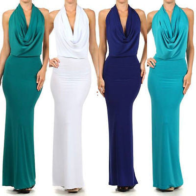 Dress Gown Formal Cocktail Halter Drape Cowl Maxi Solid Low Back Sexy New S M L