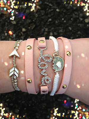 Bracelet Arm Candy Stack Pink White Love Elephant Arrow Beaded Wrap Set New