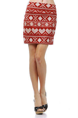 Skirt Sexy Red Soft Knit Heart Cross Stitch Pattern Holiday Mini New S