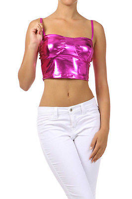 S M L Crop Tank Shiny Fuchsia Metallic Liquid Leather Corset Style Sexy Club