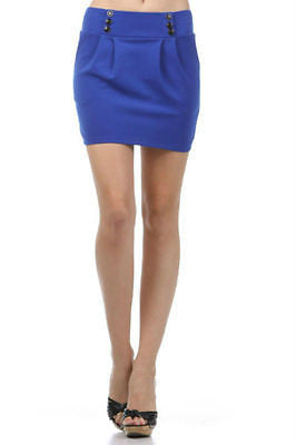Skirt Mini Blue Button Front Pleated S M L Solid Knit Zipper Back New Casual