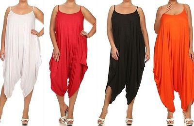 Plus Jumpsuit Romper Harem 1X 2X 3X Tank Solid Pants Low Back New Women Casual