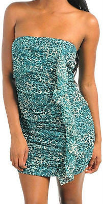 Dress S M L Leopard Strapless Mini Shimmer Ruffle Teal Tube New Sexy Mesh Woman