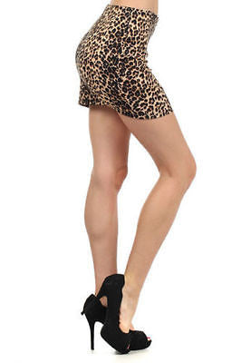 S M L Skirt Cheetah Animal Print High Waist Front Zipper Mini Sexy New Womens