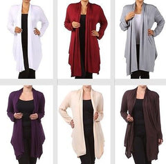 Plus Wrap Women Cardigan Open Front Asymmetrical Long Sleeve 1X 2X 3X Casual New