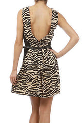 Dress S M L Animal Print Beige Skinny Studded Belt Low Back A Line Sexy New