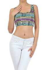 Aztec Tribal Crop Top S M L Indian Summer Printed Tank Sleeveless New Fashion