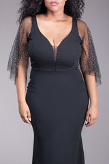 Plus Dress Maxi Gown Mermaid Black See Thru Mesh Sleeve Glitter Sexy Hourglass