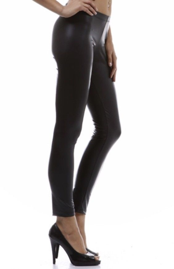 38868a553f0cd6 Black Matte Vegan Faux Leather Leggings Stretch Pants S M L – Jersey ...