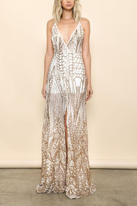 Maxi Dress Gown Sheer Gold Sequin Slit Cocktail Sparkling S M L Party Sleeveless