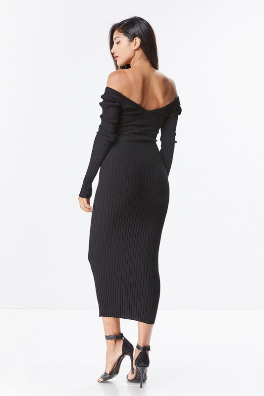 51296d5fc2 ... Black Ribbed Knit Sweater Sexy Long Sleeve On Off Shoulder Midi Dress S  M L