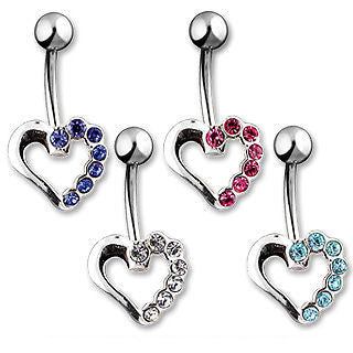 Silver Hollow Heart W/ Blue CZ Accent Belly Naval Ring