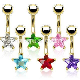 Gold Plated Prong Set CZ Blue Star Belly Naval Ring