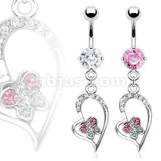 Pink Fancy Hollow Heart Butterfly Belly Naval Ring