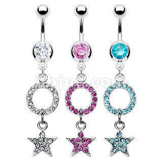Pink Gem Pave Round Hoop Star Dangle Naval Ring