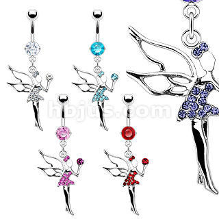 Prong Set Naval Belly Ring w/ Red Gem Fairy Dangle