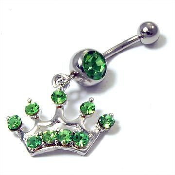 Green Crystal Studded Rhinestone Royal Crown Belly Ring