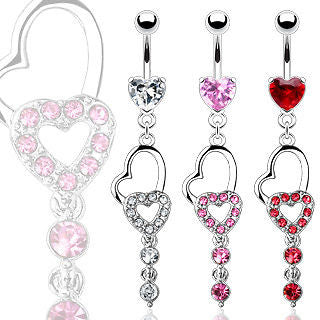 Pink Double Heart Raindrop Gem Dangle Belly Naval Ring