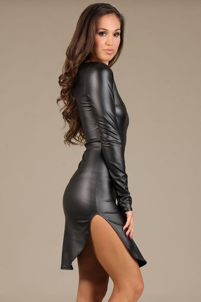 Sexy faux leather dress