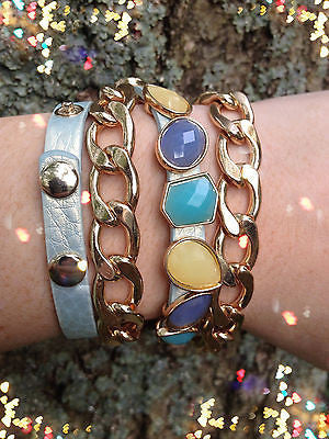 Bracelet Arm Candy Stack Teal Stones Leather Wrap Gold Chain Stretch Set New