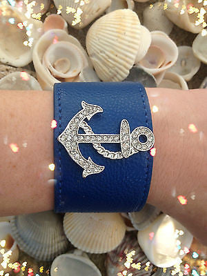 Bracelet Anchor Wrap Blue Leather Snap Closure Rhinestone Summer Nautical New