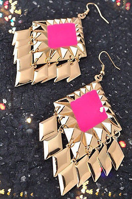Earring Pink Enamel Gold Dangle Trendy Fashion Costume New Fish Hook French Wire