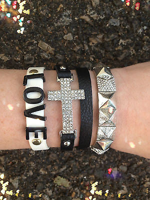 Bracelet Arm Candy Stack Black White Silver Love Cross Stud Leather Wrap Set New