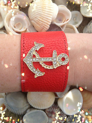 Bracelet Anchor Wrap Red Leather Snap Closure Rhinestone Summer Nautical New